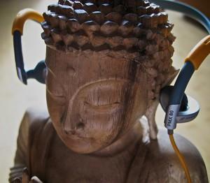 Buddha wearing Sennheiser PMX80 Sport II headphones