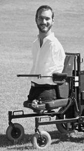 Nick Vujicic in his wheelchair