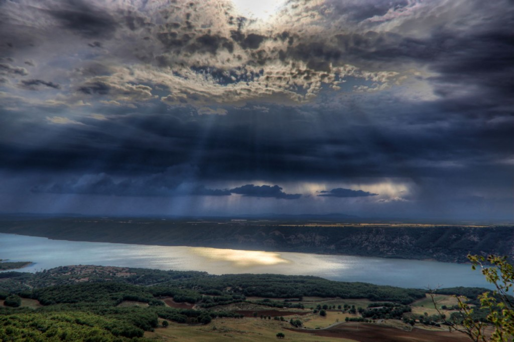 Stunning sky over a lake in the Provence